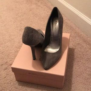 Gray BCBG heels with silver embellishment